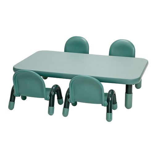 Image of Angeles BaseLine Rectangular Toddler Table & Chair Set - 48L x 30W x 12H w/4 Chairs, Teal