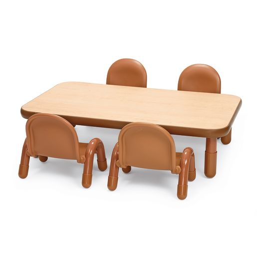 Image of Angeles BaseLine Rectangular Toddler Table & Chair Set - 48L x 30W x 12H w/4 Chairs, Natural