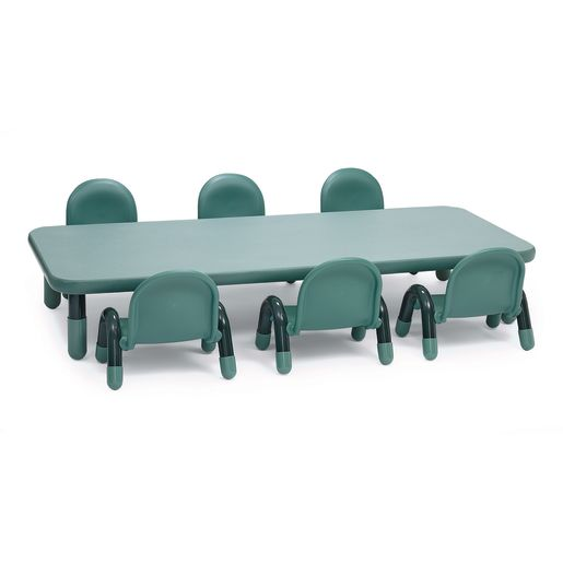 "Angeles® BaseLine® Rectangular Toddler Table & Chair Set - 72""L x 30""W x 12""H Table with 6 Chairs, Teal"