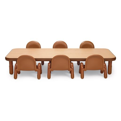 Image of Angeles BaseLine Rectangular Toddler Table & Chair Set - 72L x 30W x 12H Table with 6 Chairs, Natural