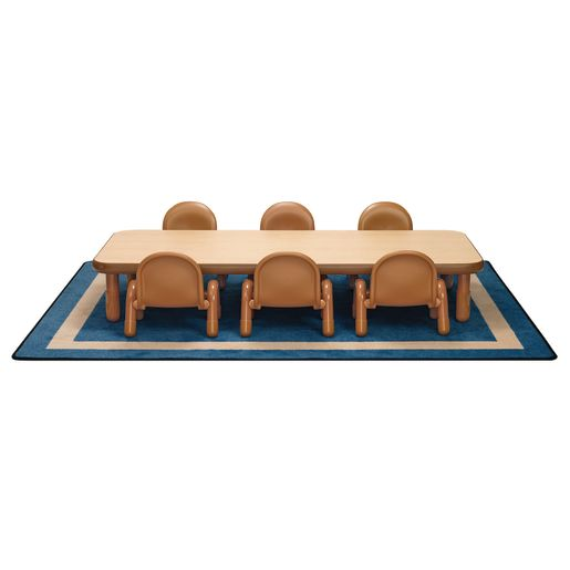 "Angeles® BaseLine® Rectangular Toddler Table & Chair Set - 72""L x 30""W x 12""H Table with 6 Chairs, Natural"