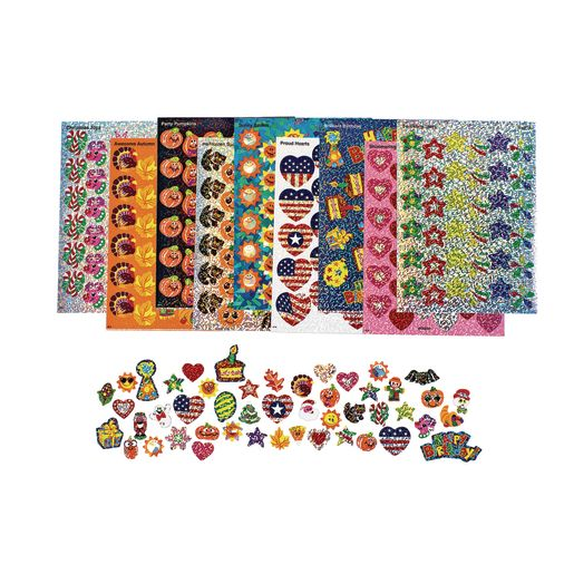 Image of Holiday Celebration Sparkle Sticker Variety Pack - 21 Sheets