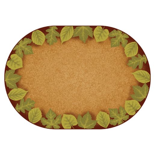 Medium Earthtones Leaf Places - 6' X 9' Oval