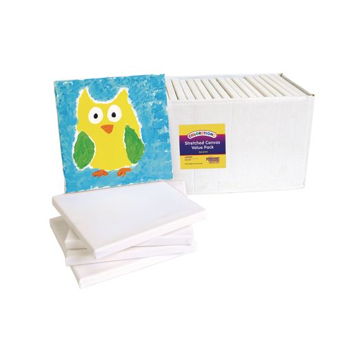 """Colorations® 8"""" x 8"""" Stretched Canvas Value Pack - Set of 24"""