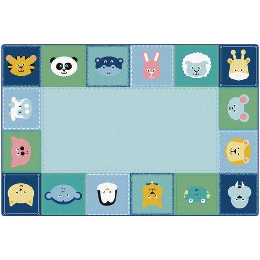 Baby Animals Border 6' x 9' Rectangle KIDSoft Premium Carpet