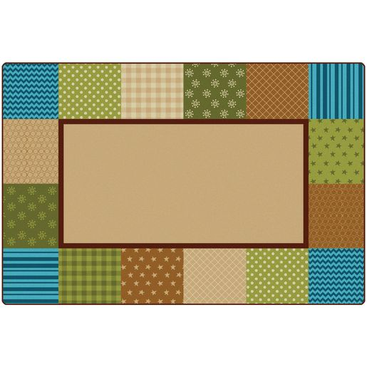 Pattern Blocks Nature 6' x 9' Rectangle KIDSoft Premium Carpet