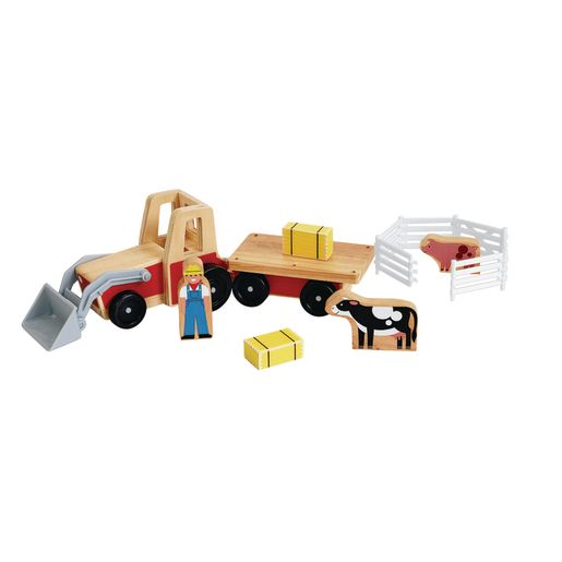 Wooden Farm Tractor Play Set