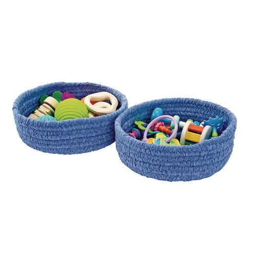 Soft Chenille Storage Baskets - Set of 2 in Blue