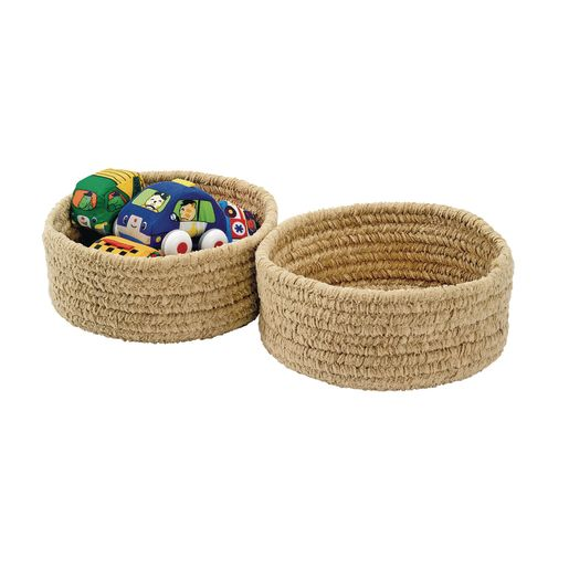 Soft Chenille Storage Baskets - Set of 2 in Tan