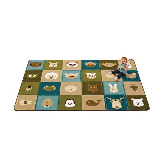 Nature Animals Patchwork 8' x 12' Rectangle KIDSoft Premium Carpet