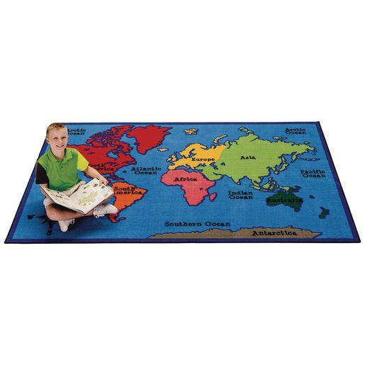 World Map 4' x 6' Rectangle Kids Value Carpet