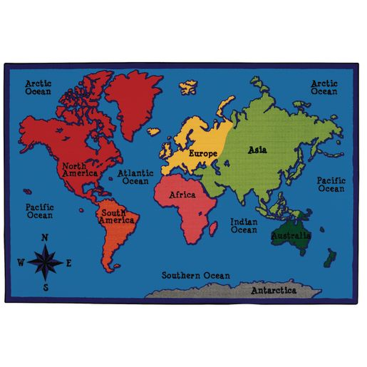 World Map 6' x 9' Rectangle Kids Value PLUS Carpet
