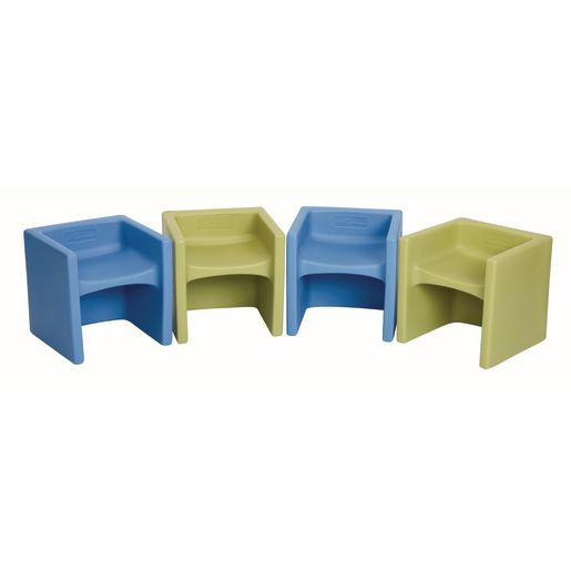 Cube Chairs 4 Pack - Sky Blue and Fern