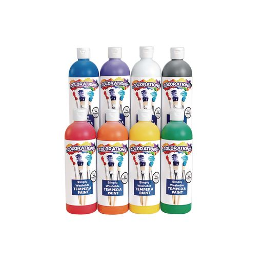 Image of Colorations Simply Washable Tempera 16 oz. Rainbow Plus 8 Pack