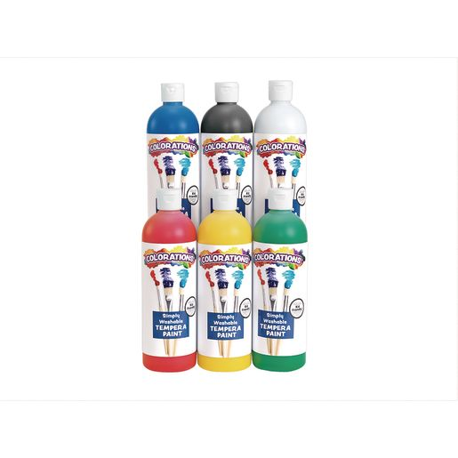 Colorations® Simply Washable Tempera 16 oz. Starter Colors 6-Pack