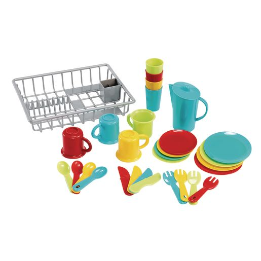 Toddler Bright Dishes & Drainer Set 30 Pieces