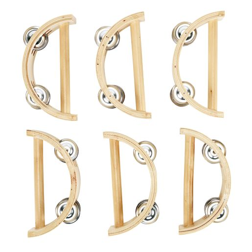 Image of Excellerations Toddler Easy-Hold Wooden Tambourine Set of 6