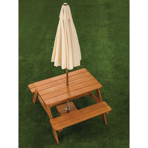 Image of Outdoor Picnic Table with Umbrella