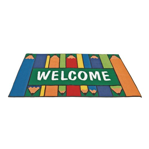 "Colorful Pencils Welcome 3' x 4'6"" Rectangle Kids Value Carpet"