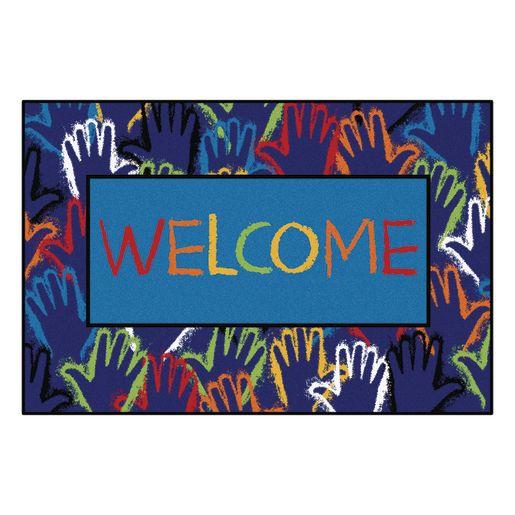 "Hands Together Welcome 3' x 4'6"" Rectangle Kids Value Carpet"