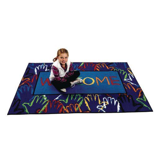 Hands Together Welcome 4' x 6' Rectangle Kids Value Carpet