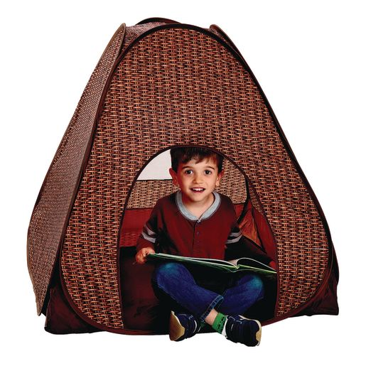 Environments® Foldable Wicker-Print Pop-Up Play Tent w/ Book Pockets