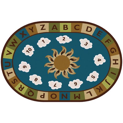 Sunny Day Learn & Play Nature 6' x 9' Oval Premium Carpet