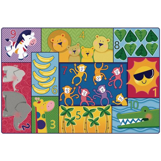 Jungle Jam Counting 4' x 6' Rectangle Pixel Perfect Carpet