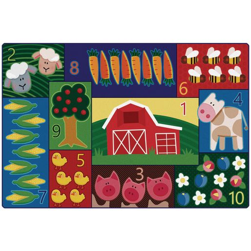 Farm Counting 6' x 9' Rectangle Pixel Perfect Carpet