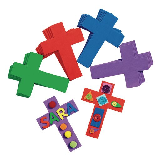 Image of Colorful Foam Crosses Set of 24