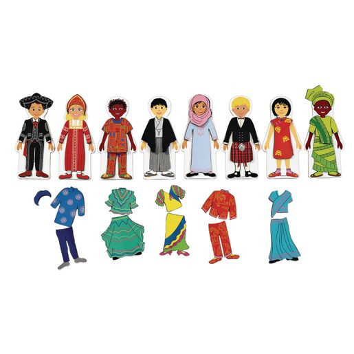 Image of Excellerations Magnetic Multicultural Dressing Dolls