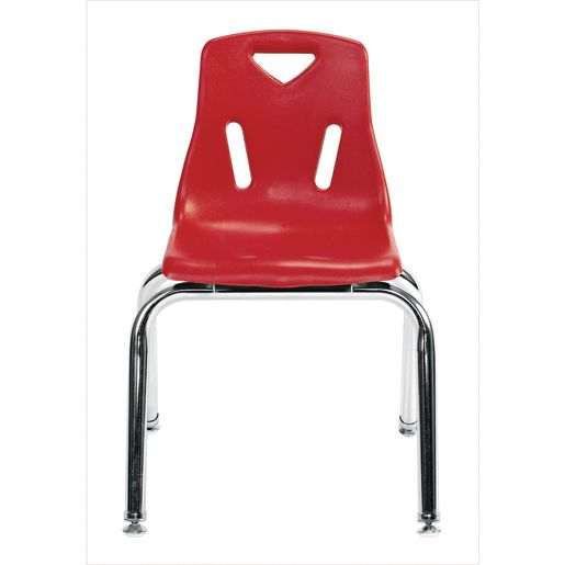 """Single 14"""" Stacking Chairs with Chrome Legs - Red"""