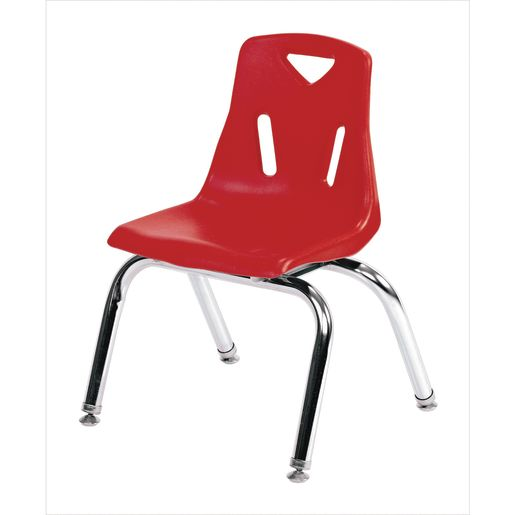 """Single 10"""" Stacking Chairs with Chrome Legs - Red"""
