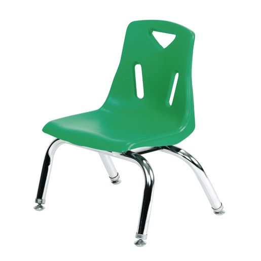 """Single 10"""" Stacking Chairs with Chrome Legs - Green"""