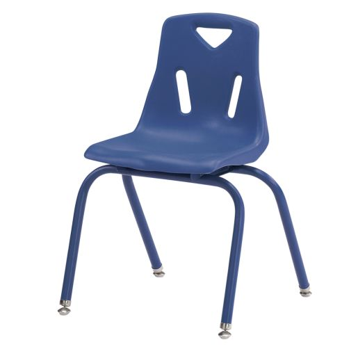 Image of Single 16 Stacking Chairs with Matching Legs - Blue