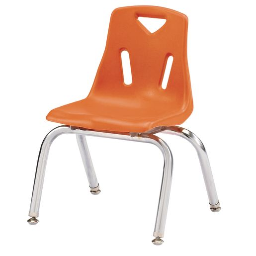 "Single 12"" Stacking Chairs with Chrome Legs - Orange"