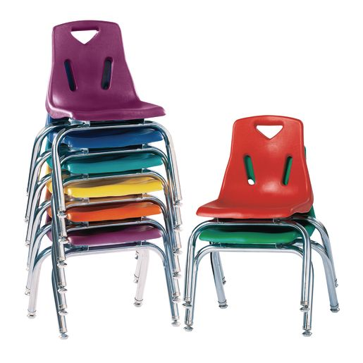 """Single 12"""" Stacking Chairs with Chrome Legs - Orange"""
