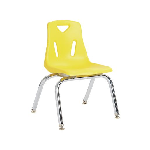 "Single 12"" Stacking Chairs with Chrome Legs - Yellow"