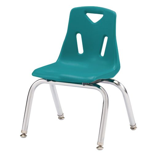 """Single 12"""" Stacking Chairs with Chrome Legs - Teal"""