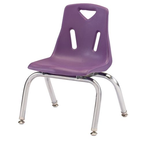 """Single 10"""" Stacking Chairs with Chrome Legs - Purple"""