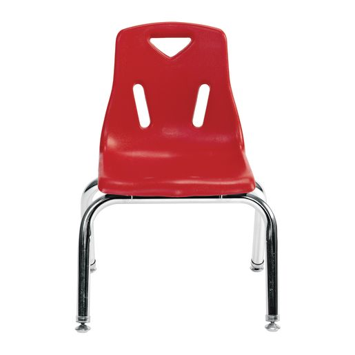 """Single 18"""" Stacking Chairs with Chrome Legs - Red"""