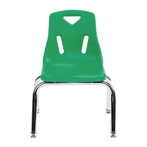"Single 18"" Stacking Chairs with Chrome Legs - Green"