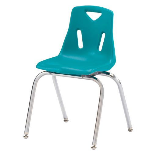 "Single 18"" Stacking Chairs with Chrome Legs - Teal"