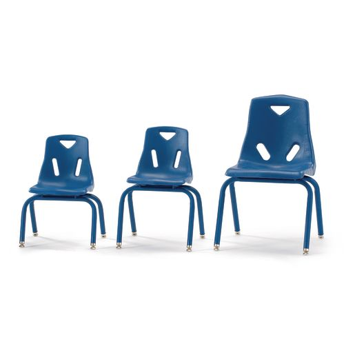 """10"""" Berries® Stacking Chairs with Matching Legs, Blue - Set of 6"""
