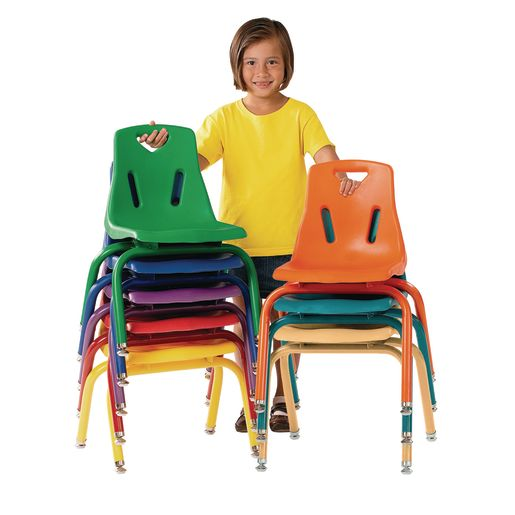 """14"""" Stacking Chairs with Matching Legs, Red - Set of 6"""