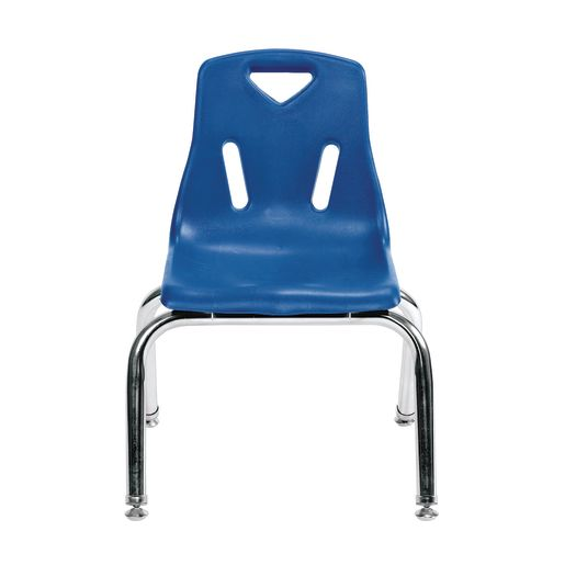 "14"" Stacking Chairs with Chrome Legs, Blue - Set of 6"