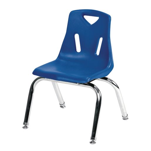 "12"" Stacking Chairs with Chrome Legs, Blue - Set of 6"