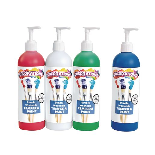 Colorations® Simply Washable Tempera Paint, 16 oz. Top 4 Colors with Pumps