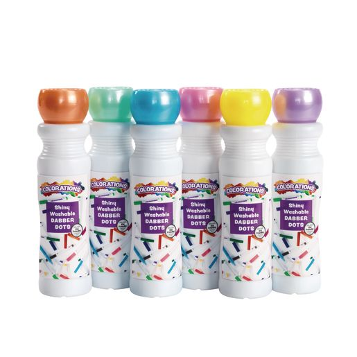 Colorations Washable Shiny Dabber Dot Markers, Set of 6