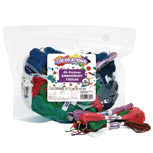 Image of Colorations All Purpose Embroidery Floss, Set of 100 Skeins, 10 Colors